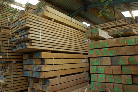 Our drying shed, where Oak is kept for at least 12 months before use